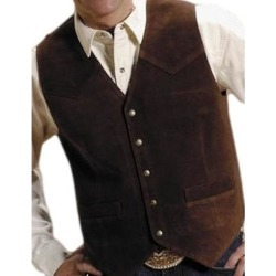 Roper Western Vest Mens Leather Snap Snap Brown (S), Men's found on MODAPINS from Overstock for USD $69.94