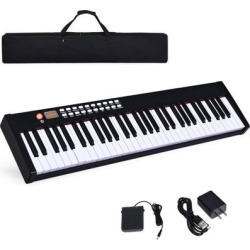 Costway BX-II 61 Key Digital Piano Touch sensitive with Bluetooth and MP3-White found on Bargain Bro Philippines from Costway for $129.95