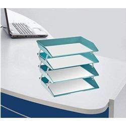 Inbox Zero 4 Tier Letter Tray Side Load Plastic Desktop File Organizer in Green, Size 14.53 H x 10.94 W x 3.86 D in   Wayfair found on Bargain Bro Philippines from Wayfair for $91.99