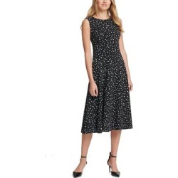 DKNY Womens A-Line Dress Black Ivory Size 10 Dot-Print Keyhole Seamed (10), Women's(polyester) found on Bargain Bro from Overstock for USD $30.39