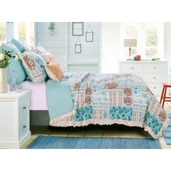 Key West Quilt Set by Greenland Home Fashions in Seafoam (Size FL/QUE)