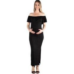 24seven Comfort Apparel Ruffle Off The Shoulder Maternity Maxi Dress (Black - XL), Women's(rayon) found on Bargain Bro India from Overstock for $35.99