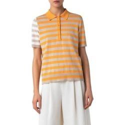 Stripe Linen Blend Polo Sweater - Orange - Akris Punto Knitwear found on MODAPINS from lyst.com for USD $440.00