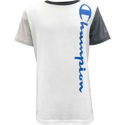 Champion Boys' Tee Shirts WHITE/OXFORD - White & Granite Heather Color Block 'Champion' Vertical Script Tee - Boys found on Bargain Bro from zulily.com for USD $6.83