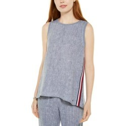 Tommy Hilfiger Womens Woven Top Blue Size XS Side-Stripe Hi-Low Linen found on Bargain Bro from Overstock for USD $25.06