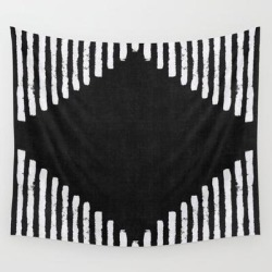 Diamond Stripe Geometric Block Print In Black And White Wall Hanging Tapestry by Becky Bailey - 51