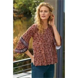 Women's Tuscany Tunic Top by Soft Surroundings, in Light Brown size XS (2-4)
