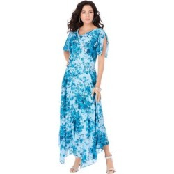 Plus Size Women's Floral Beaded Dress by Roaman's in Blue Embellished Bouquet (Size 28 W) found on Bargain Bro Philippines from fullbeauty for $189.99