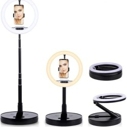 10.8inch LED Portable Portrait Halo Ring 360° Gooseneck Light - USB Powered w/ Brightness Control (Cool, Mixed, Warm) found on Bargain Bro Philippines from Overstock for $69.92