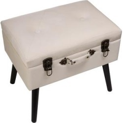 Glitzhome Benches - Seashell White Velvet Upholstered Storage Stool found on Bargain Bro India from zulily.com for $96.99