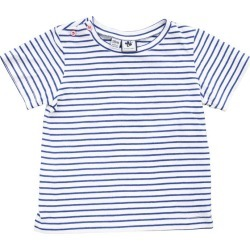 Busy Bees Henry Button Shoulder Button Tee, Blue Stripe
