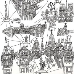 Schumacher View of Paris Wallpaper, Black/White