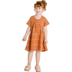 Olli Ella The Clover Toddler Dress, Rust Check