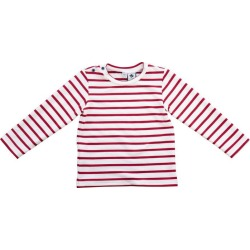 Busy Bees Henry Button Shoulder Long Sleeve Tee, Cranberry/Cream Stripe