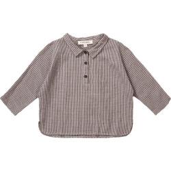 Caramel Camber Baby Shirt, Grey Micro Check