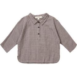 Caramel Camber Baby Shirt, Grey Check