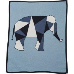Lucky Jade Geometric Elephant Blanket, Blue
