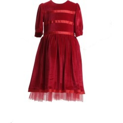 Sorci and Fofa Velvet Party Dress, Red