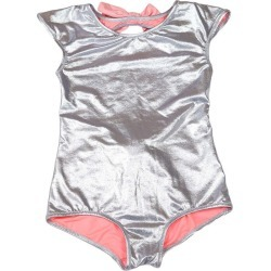 Piccoli Principi Venezuela One Piece Swimsuit, Silver Pink Bows
