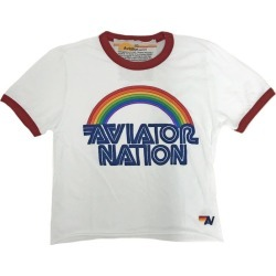 Aviator Nation 70's Ringer Tee, White