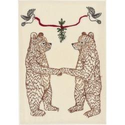 Coral + Tusk Bears Under Mistletoe Embroidered Card