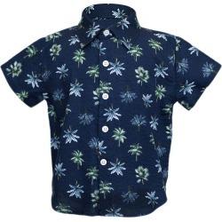 Hopper Hunter Short Sleeve Hopper Shirt, Navy Palms