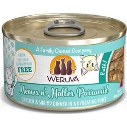 Weruva Classic Cat Meows n' Holler PurrAmid Chicken & Shrimp Pate Canned Cat Food , 3-oz can, case of 12