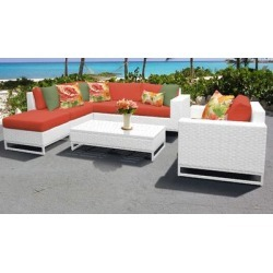 Miami 7 Piece Outdoor Wicker Patio Furniture Set 07f in Tangerine - TK Classics Miami-07F-Tangerine found on Bargain Bro India from totally furniture for $1574.99