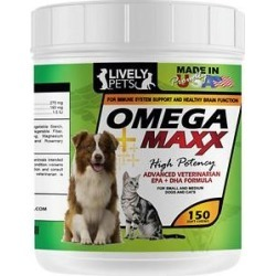 Lively Pets Omega Maxx Fish Oil Small & Medium Dog Soft Chews, 150 count