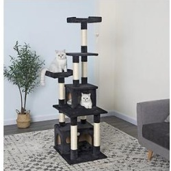 Go Pet Club 67-in Faux Fur Cat Tree & Condo, Black found on Bargain Bro India from Chewy.com for $47.24