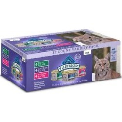 Blue Buffalo Wilderness Pate Variety Pack Duck, Chicken & Salmon Grain-Free Cat Canned Food, 3-oz, case of 12