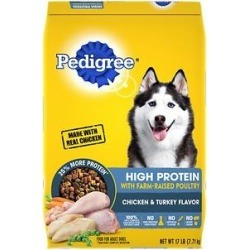 Pedigree High Protein Chicken & Turkey Flavor Adult Dry Dog Food, 17-lb bag