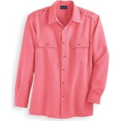 Men's John Blair® Long-Sleeve Linen-Look Pilot Shirt, Salmon Pink S found on Bargain Bro Philippines from Blair.com for $29.99