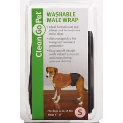 Clean Go Pet Washable Male Dog Wrap, Black, Small