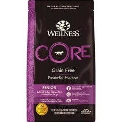 Wellness CORE Grain-Free Senior Deboned Turkey Recipe Dry Dog Food, 4-lb bag