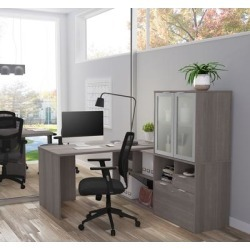 i3 Plus L-Desk w/ Frosted Glass Door Hutch in Bark Gray - Bestar 160851-47 found on Bargain Bro India from totally furniture for $664.39
