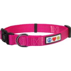 Pawtitas Nylon Reflective Dog Collar, Pink, Large: 16 to 26-in neck, 1-in wide found on Bargain Bro India from Chewy.com for $11.99