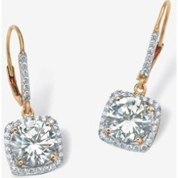 Plus Size Women's Yellow Gold Over Sterling Silver Halo Drop Earrings Cubic Zirconia by PalmBeach Jewelry (Size 0) found on Bargain Bro India from Roamans.com for $42.99