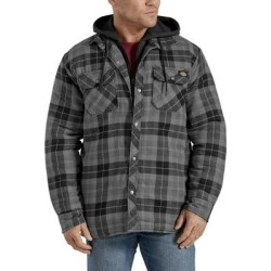Dickies Men's Relaxed Fit Icon Hooded Quilted Shirt Jacket - Slate Graphite Plaid Size XL XL (TJ201) found on Bargain Bro India from Dickies.com for $44.99