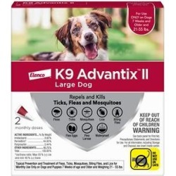 K9 Advantix II Flea, Tick & Mosquito Prevention for Large Dogs, 21-55 lbs, 2 treatments