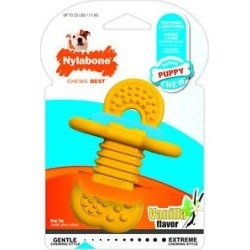 Nylabone Puppy Chew Rubber Teether Dog Toy, Small, Yellow found on Bargain Bro India from Chewy.com for $6.01