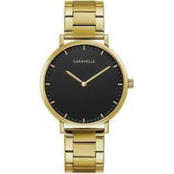Caravelle by Bulova Men's Gold Tone Black Dial Watch - 44A112, Size: Large, Yellow found on Bargain Bro India from Kohl's for $125.00