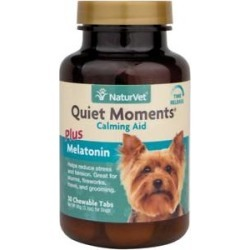 NaturVet Quiet Moments Calming Aid Plus Melatonin Tablets for Dogs, 30 count found on Bargain Bro India from Chewy.com for $13.99