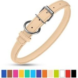 CollarDirect Rolled Leather Dog Collar, Beige, X-Small found on Bargain Bro Philippines from Chewy.com for $11.99