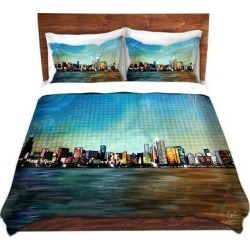 East Urban Home Chicago Skyline Duvet Cover Set ESTP1144 Size: Twin found on Bargain Bro India from wayfair.com for $149.99