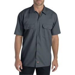 Dickies WS675 Men's FLEX Relaxed Fit Short-Sleeve Twill Work Shirt in Charcoal size Medium | Polyester Blend found on Bargain Bro from ShirtSpace for USD $21.57