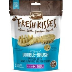 Merrick Fresh Kisses Double-Brush Mint Breath Strip Infused Large Dental Dog Treats, 7 count found on Bargain Bro India from Chewy.com for $10.79