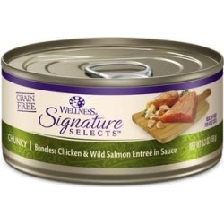 Wellness CORE Signature Selects Chunky Boneless Chicken & Wild Salmon Entree in Sauce Grain-Free Canned Cat Food, 5.3-oz, case of 12 found on Bargain Bro India from Chewy.com for $27.48