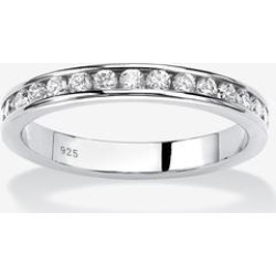 Plus Size Women's Sterling Silver Simulated Birthstone Stackable Eternity Ring by PalmBeach Jewelry in April (Size 6) found on Bargain Bro India from Roamans.com for $29.99