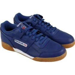 aec4ce6fe9e534 Reebok Workout Plus Mens Blue Leather Lace Up Sneakers Shoes